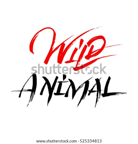 wild animal calligraphy red
