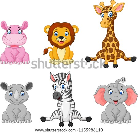Wild animal cartoon collection set #1155986110