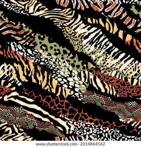 Wild animal skins patchwork wallpaper abstract vector seamless pattern