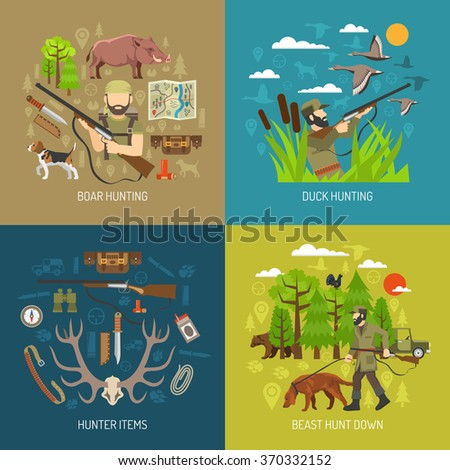 Wild animals and bird hunting design concept flat set isolated vector illustration