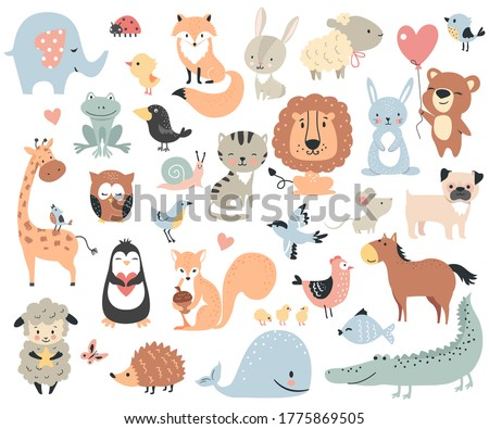 Wild animals and pets. Perfect set for scrapbooking, baby shower, childish poster, tag, sticker kit. Vector illustration.