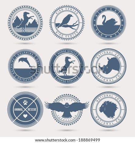 wild animals badges eps10