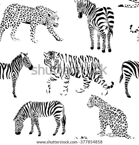 wild animals black and white