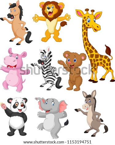 Wild animals cartoon collection set #1153194751
