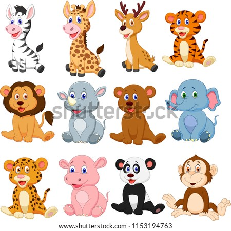 Wild animals cartoon collection set #1153194763
