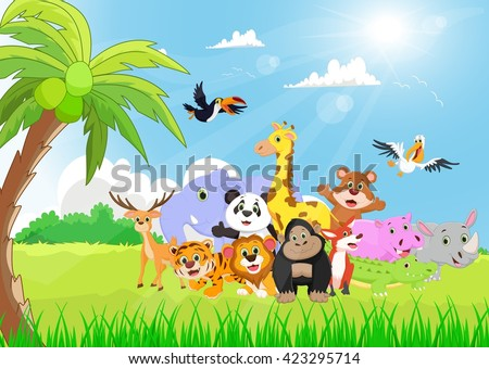 wild animals cartoon in the