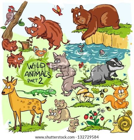 wild animals  hand drawn