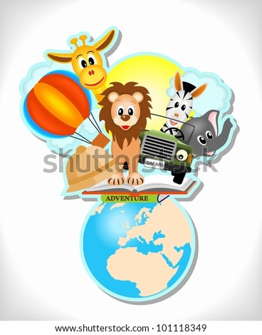 wild animals, hot air balloon, book and car with earth