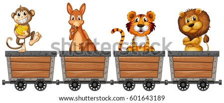 wild animals in mining carts