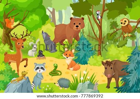 wild animals on forest. vector...