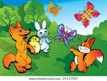 Wild animals play in the meadow. Vector art-illustration.