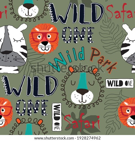 Wild animals seamless pattern. Tiger and lion animals with palm leaves and wild one, safari and wild park text. Can be used for textile,  background, book cover, packaging.