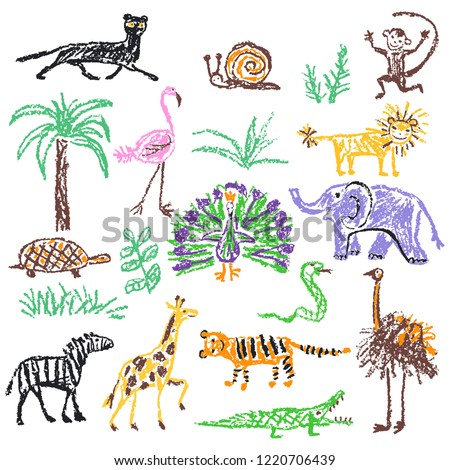 Wild animals set. Crayon like kid`s hand drawn giraffe, elephant, lion, monkey, zebra, crocodile isolated on white. Child`s drawn stroke colorful pastel chalk or pencil vector art. Doodle funny style