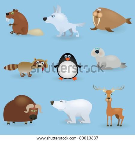 Wild animals set #3 (North) - stock vector