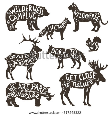 Wild animals silhouettes with lettering chalk board isolated vector illustration