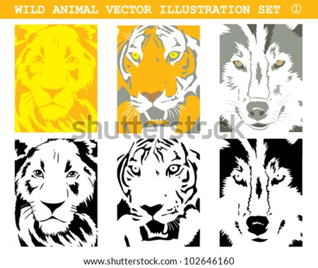 WILD ANIMALS VECTOR ILLUSTRATION SET 1