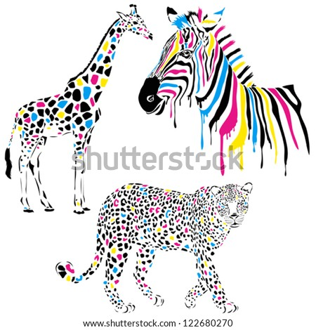 Wild animals vector set with giraffe, zebra and leopard in cmyk-concept style