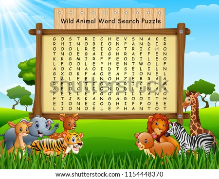 stock vector wild animals word search puzzle