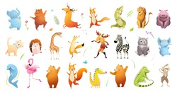 Wild baby animals big clipart collection of wildlife illustration. Safari animals and pets for kids design, vector cartoon bundle.