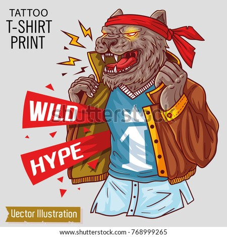 Wild bear in clothes opens its fashionable jacket. Puma gangster shows his - wild hype Cover rap album. Print for t-shirts and other clothes. Isolated layered vector illustration on white background