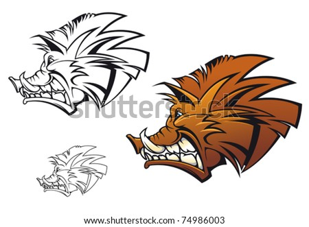 Wild boar in cartoon style as a tattoo or mascot or logo template. Jpeg version also available in gallery - stock vector