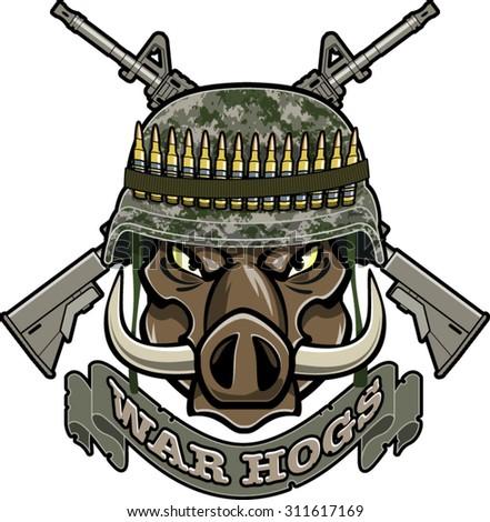 wild boar with military helmet