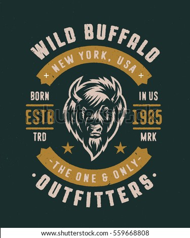 Wild Buffalo New York USA Vintage T Shirt Graphics. Retro Apparel Textured Fashion Print With Bison Vector Illustration. Authentic Old School Logo Badge