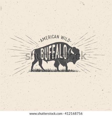 wild buffalo. vintage styled...