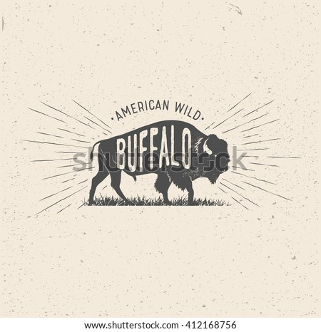 Wild Buffalo. Vintage styled vector illustration of the american buffalo.