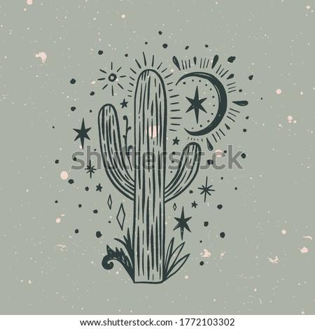 Wild cactus. Desert Arizona moonchild. Vintage concept. Mexico culture. Harmony and zen. Crescent moon magic. Vector illustration. Сток-фото ©