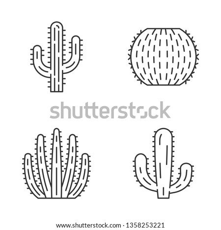 Wild cactus linear icons set. Succulents. Cacti collection. Saguaro, organ pipe, mexican giant and barrel cactuses. Thin line contour symbols. Isolated vector outline illustrations. Editable stroke