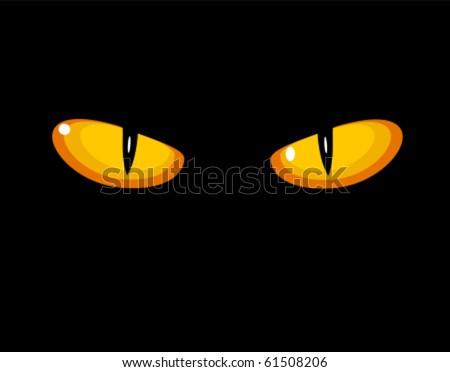 Wild cat eyes in darkness. Vector illustration