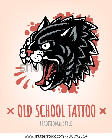 wild cat old school tattoo