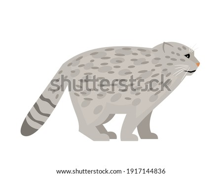 Wild cat with spots. Cartoon cute exotic mammal, fluffy endangered beast of nature, vector illustration of pallas cat isolated on white background Foto d'archivio ©