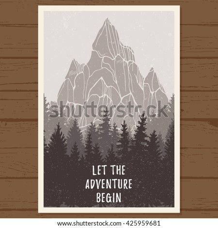 Wild coniferous forest poster with mountain; pine tree, landscape nature, wood natural panorama; outdoor adventure camping, hiking, tourism, design template; hand drawn vector illustration