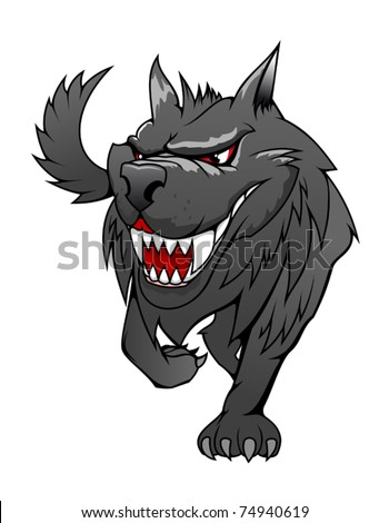 Wild danger gray wolf in cartoon style isolated on white. Jpeg version also available in gallery