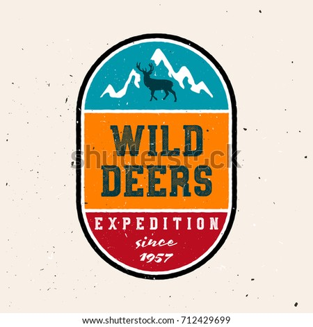 Wild deers badge (colored version). Badge for traveling and outdoor wear, or hunting / adventure club with