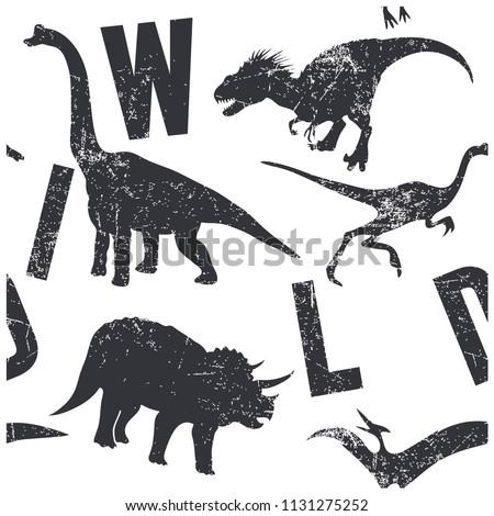 wild dinosaurs seamless pattern