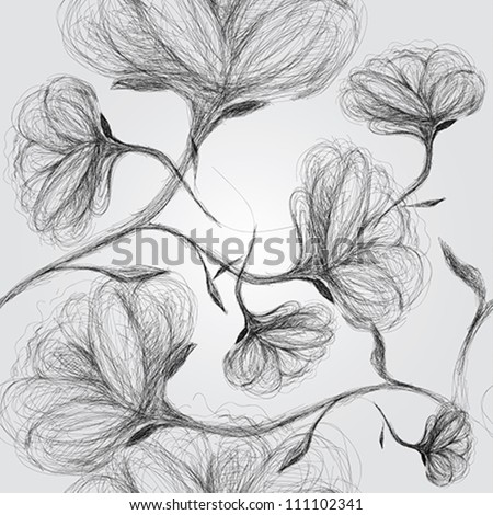 Wild dog rose / Seamless black-and-white pattern