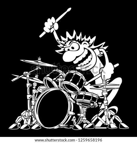 wild drummer playing drum set
