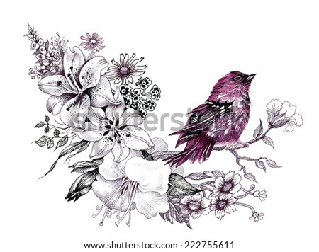 Wild exotic bird on twig vector illustration