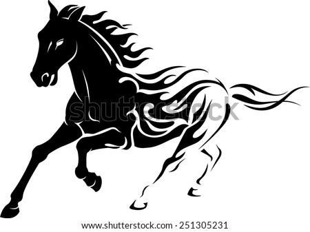 wild flaming stallion horse stock vector 251305231 shutterstock. Black Bedroom Furniture Sets. Home Design Ideas