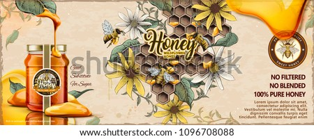 Wild flower honey ads with 3d illustration glass jar filled with nectar on retro engraving apiary background