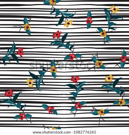 Wild Flower on hand drawing stripes seamless pattern vector for fashion fabric,wallpaper and all prints on white background.