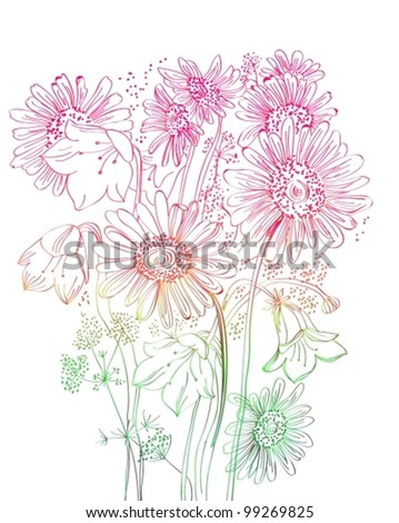 wild flowers background, beautiful vector floral illustration - stock vector