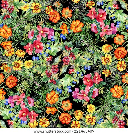 Wild flowers seamless pattern on black background vector illustration