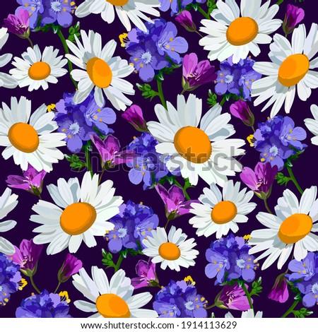 wild flowers vector seamless