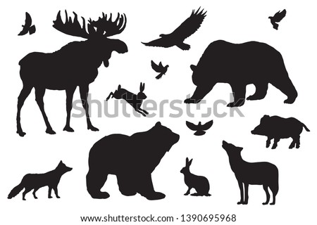 Wild forest animals silhouettes, elements set white isolated. Basis graphics