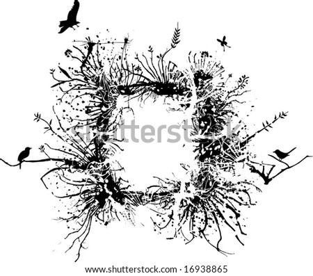 Wild frame made of branches, roots and various vegetation with some birds - stock vector