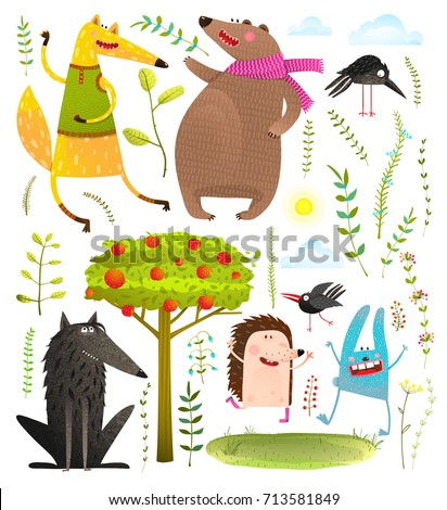 wild funny forest objects and